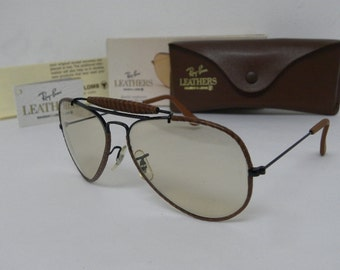 39e493a40f New Vintage B L Ray Ban Outdoorsman Leathers Woven W0552 Black Brown  Changeable Brown 58mm Photocromatic Sunglasses USA