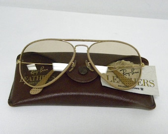 e0f5f9a6610 New Vintage B L Ray Ban Large Metal Leathers Ostrich Gold Taupe L1513  Changeable Brown Lenses Sunglasses USA