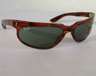 caeb09b593 New Vintage B L Ray Ban Fugitives Modified Aviator Tortoise G-15 W1956 Wrap  Sunglasses nos