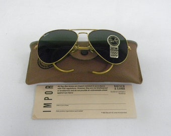 c9a431f93fd7d New Vintage B L Ray Ban Large Metal Gold Cable Temple Wrap G-15 58mm  Aviator Sunglasses USA