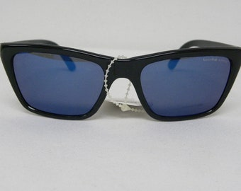 59273d9452120 New Vintage Bolle 528 Black Blue Spectra Acrylex Lens Sunglasses France NOS  Sunglasses