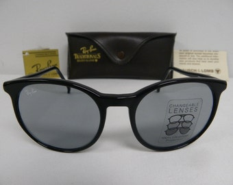dcef0ea71ac407 New Vintage B L Ray Ban Traditionals Style C Black Blue Grey Changeable  Sunglasses USA