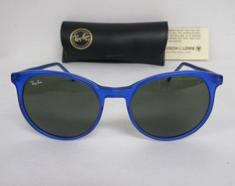 3358ad3572bb9c New Vintage B L Ray Ban Traditionals Style C Matte Blue W0667 Round  Sunglasses USA NOS