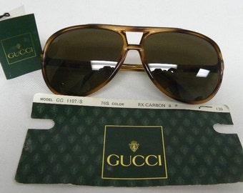 fcf02b737b0 New Vintage Gucci 1107 S 76S Brown Aviator Italy Sunglasses