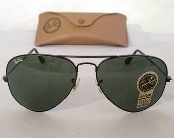 84ba91420e New Vintage B L Ray Ban Large Metal II Black G-15 L2821 62mm Aviator  Sunglasses usa