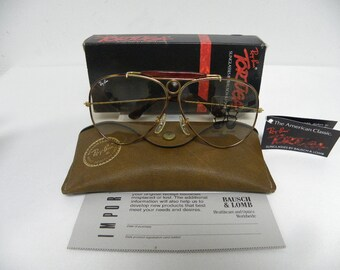276c34cfae New Vintage B L Ray Ban Shooter Tortuga L1702 Gold Changeable Brown Aviator  Outdoorsman Sunglasses USA
