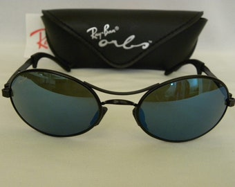 e532d3bd45b New Vintage B L Ray Ban Orbs Oval Black Blue Mirror Sunglasses Ellipse USA  NOS