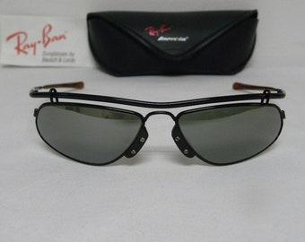4fb6688939 New Vintage B L Ray Ban Inertia Black Silver Mirror W2393 Wrap Sunglasses  USA
