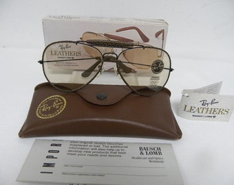 d370debf45 New Vintage B L Ray Ban Leathers Outdoorsman II Black Brown Woven Leather  Changeable Lenses Photochromatic W0382 62mm USA