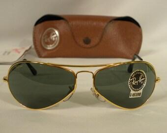 10d4e8073f New Vintage B L Ray Ban Air Boss Gloss Gold G-15 W2615 Orbs Aviator  Sunglasses usa