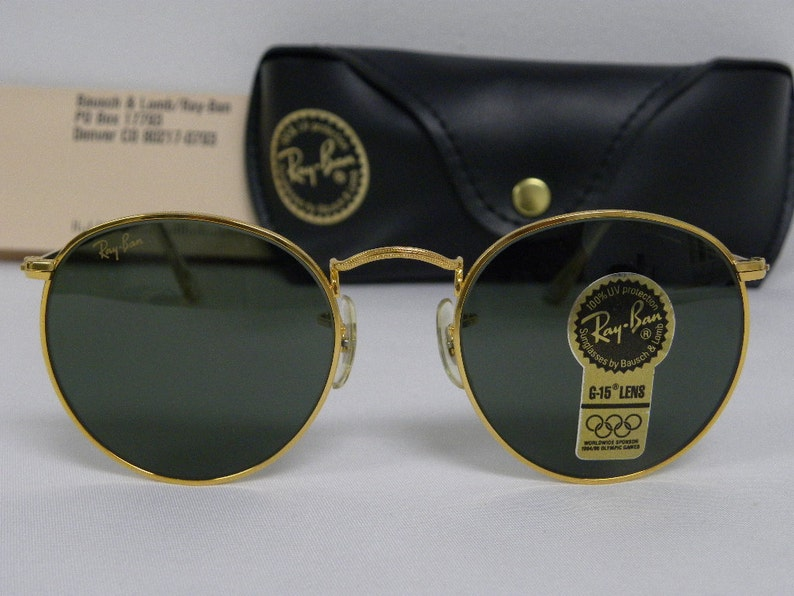 ad956309bb New Vintage B L Ray Ban Round Metal Gold G-15 49mm W0603