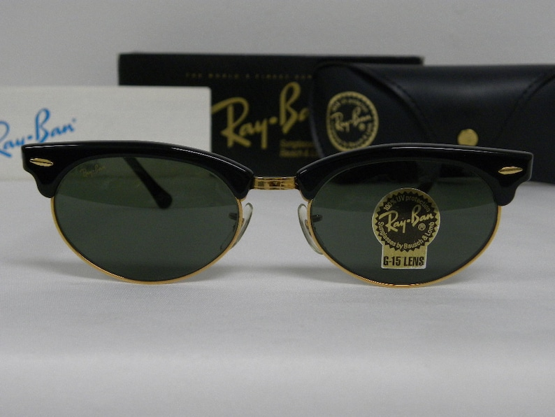 91df923427 New Vintage B L Ray Ban Clubmaster Oval Black G-15 W1263