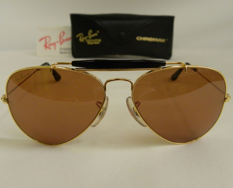 ab8a04f791 New Vintage B L Ray Ban Outdoorsman Chromax Gold Black 58mm