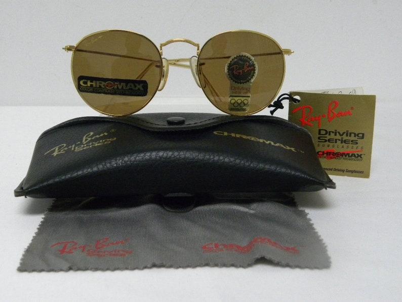 496a3010907 New Vintage B L Ray Ban Round Metal Gold Chromax 49mm