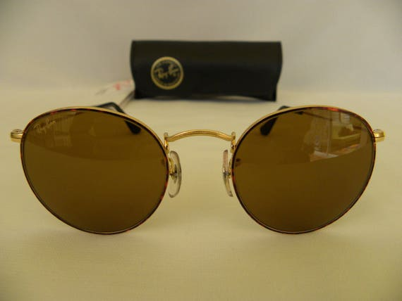 2a6a487dd5 New Vintage B L Ray Ban Classic Collection Small Round Metal Gold Tortoise  B-15 47mm W2185 Sunglasses USA