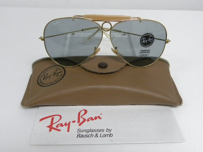 3ac8151b89 New Vintage B L Ray Ban Shooter Gold Changeable Gray Blue