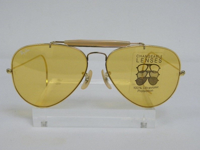 5632a22925f13 New Vintage B L Ray Ban Outdoorsman Gold Ambermatic 58mm Cable