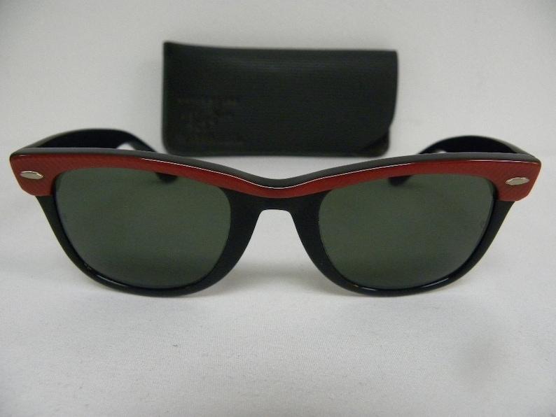 a97e863a0a New Vintage B L Ray Ban Wayfarer Ebony Black Red 50mm