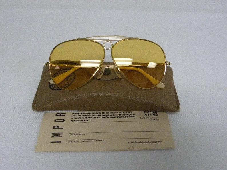 e71daab367c New Vintage B L Ray Ban Shooter Gold Shooter Ambermatic 62mm Aviator  Outdoorsman Sunglasses USA