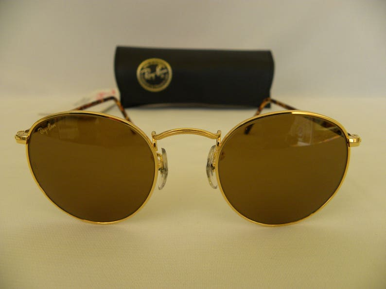 277754af05 New Vintage B L Ray Ban Classic Collection Small Round Metal Gold Tortoise  B-15 47mm W2470 Sunglasses USA