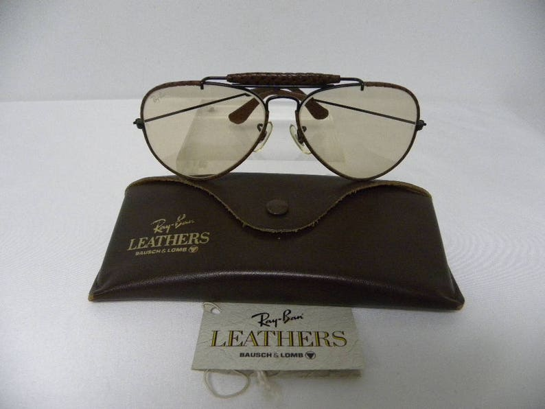 17e155fc03b New Vintage B L Ray Ban Outdoorsman Leathers Woven Ebony Brown Changeable  58mm Photocromatic Sunglasses USA