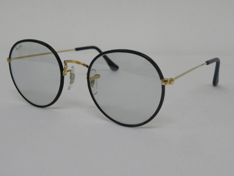 c6c32a5cc0e New Vintage B L Ray Ban Classic Round Metal Black Leather Gold