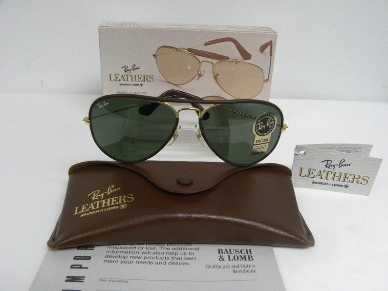 be8f3e87d2 New Vintage B L Ray Ban Large Metal Leathers Brown Arista Gold L1644 58mm  Aviat... New Vintage B L Ray Ban Large Metal Leathers Brown Arista Gold  L1644 58mm ...