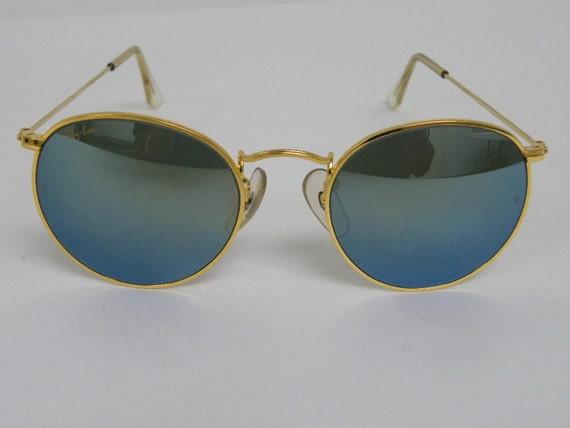171f3b0042 New Vintage B L Ray Ban Round Metal Gold Blue Mirror 49mm
