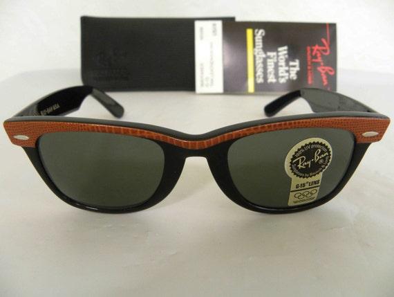 1179f7222d New Vintage B L Ray Ban Wayfarer Tan Leather Ebony Black G-15