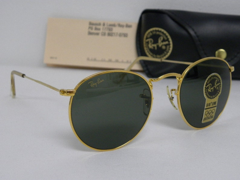 d64a629aedf New Vintage B L Ray Ban Round Metal Gold G-15 49mm W0603