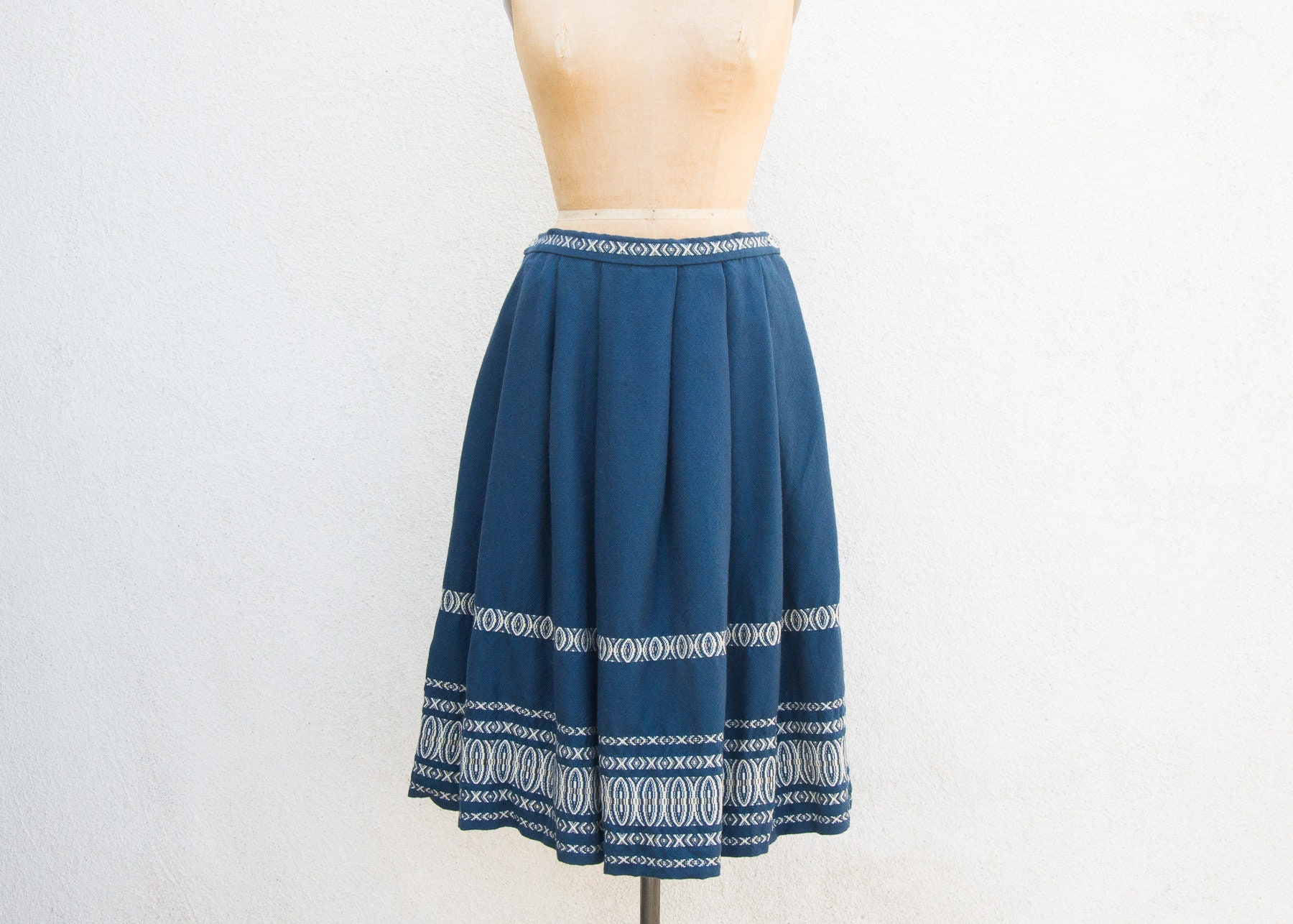 d2e21147ccc3 VINTAGE 1960s German Woven Wool Pleated Folk Skirt European | Etsy