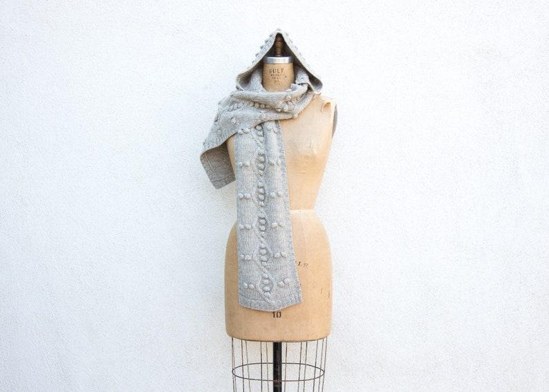 4df7d953c551ad VINTAGE Grey Pom Pom Chunky Knit Hooded Scarf Oversized