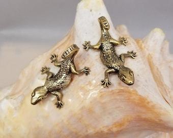 Zoology Brass Gecko Earrings Lizard Biology Reptile Stocking Stuffer Science Jewelry