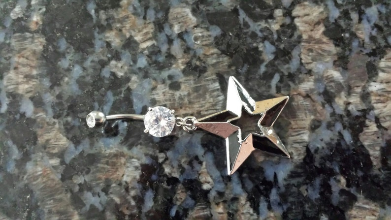 Nautical star belly ring dangle navel piercing double gem 14G clear CZ black silver