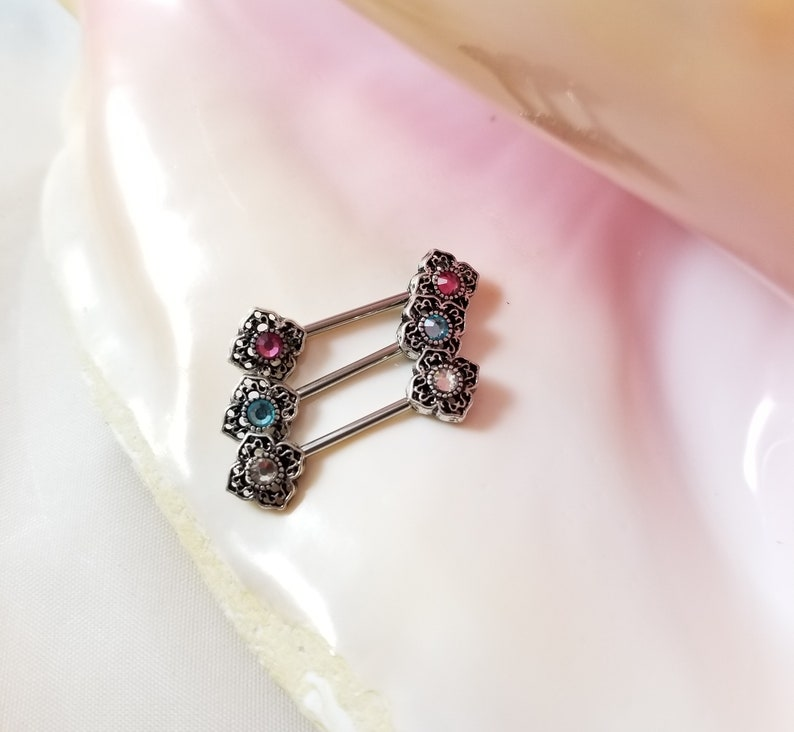 Pair of 14G antique ends nipple bars clear pink or blue crystal center stainless steel
