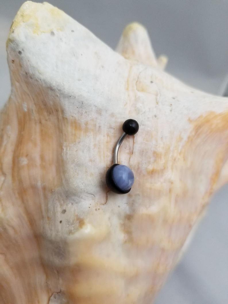 14G Arang wood balls and blue lace agate disc insert Surgical Steel belly ring