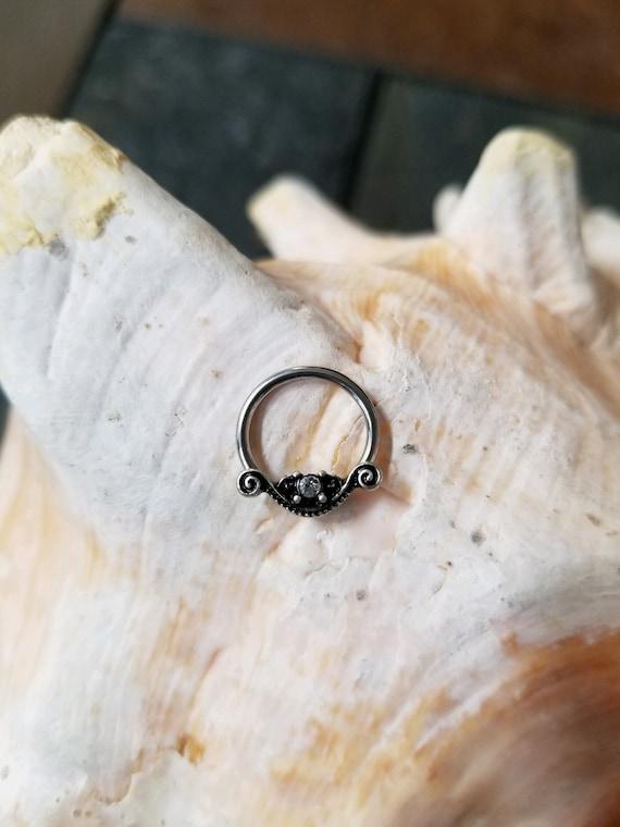 nipple earring hoop 14g belly septum Pair of Cz Ornate antique swirl design Captive bead Ring lip