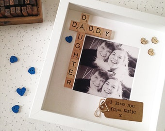 Daddy Daughter Frame Fathers Day Gift Photo Scrabble Free Printing Personalised Dad Birthday