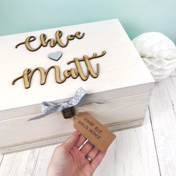 Personalized Wooden Memory Note Box Bridal Shower Wedding Wish Keepsake