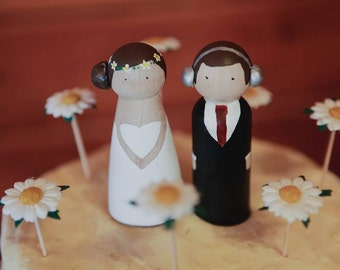 Wooden Peg Dolls- Custom Personalised Wooden Wedding Cake Topper Couple- Hand Painted Keepsake- Unique Wedding Gift- Mr and Mrs