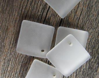 Sea Glass Diamond Shaped 18mmx18mm Sea Foam Green(2)