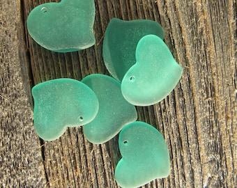 Sea Glass Large Fancy Flat Heart Pendant Earrings Sea Foam Green 30mmx30mm (2)