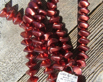 Glass Pearls Wonky Oval Pomegranate Red 11/15mm