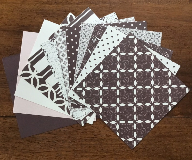 12 piece assorted paper 6x6 Stampin Up paper Au Chocolate combo pack card stock double sided pattern solids