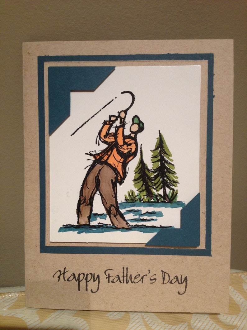 used fisherman On the Fly fly fishing card making Stampin/' Up rubber stamp set with wood mounts fish stamping
