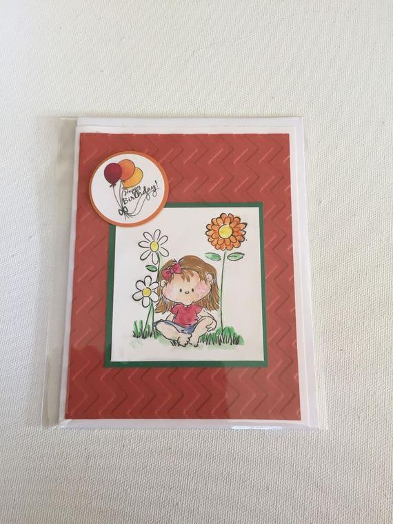 Little girl birthday greeting card handmade hand painted etsy image 0 m4hsunfo
