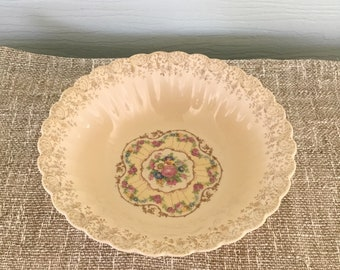 Vintage serving bowl, Trojan by Sebring, Toledo Delight, made in USA, 22 k gold filligree, scalloped, victorian style, shabby chic decor
