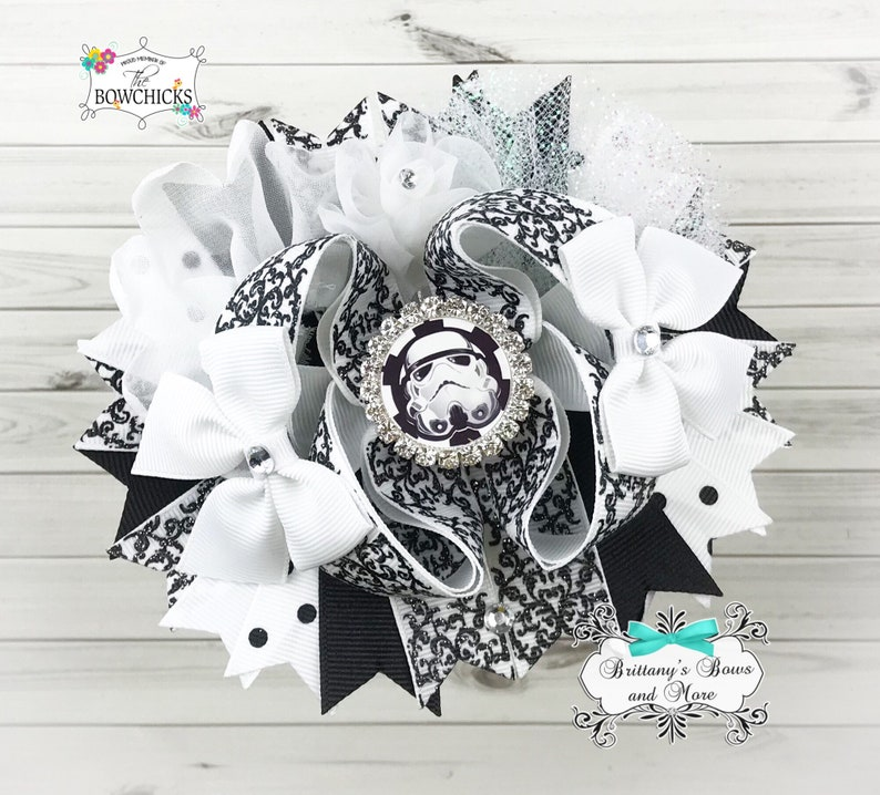 Storm Trooper Inspired OTT Bow Over the Top Hairbow  Star image 0
