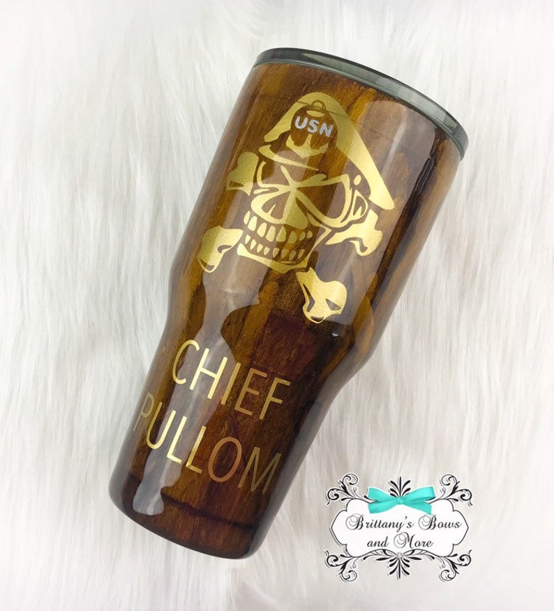 Navy Chief Skull  Navy Chief Woodgrain Tumbler  Stainless image 0