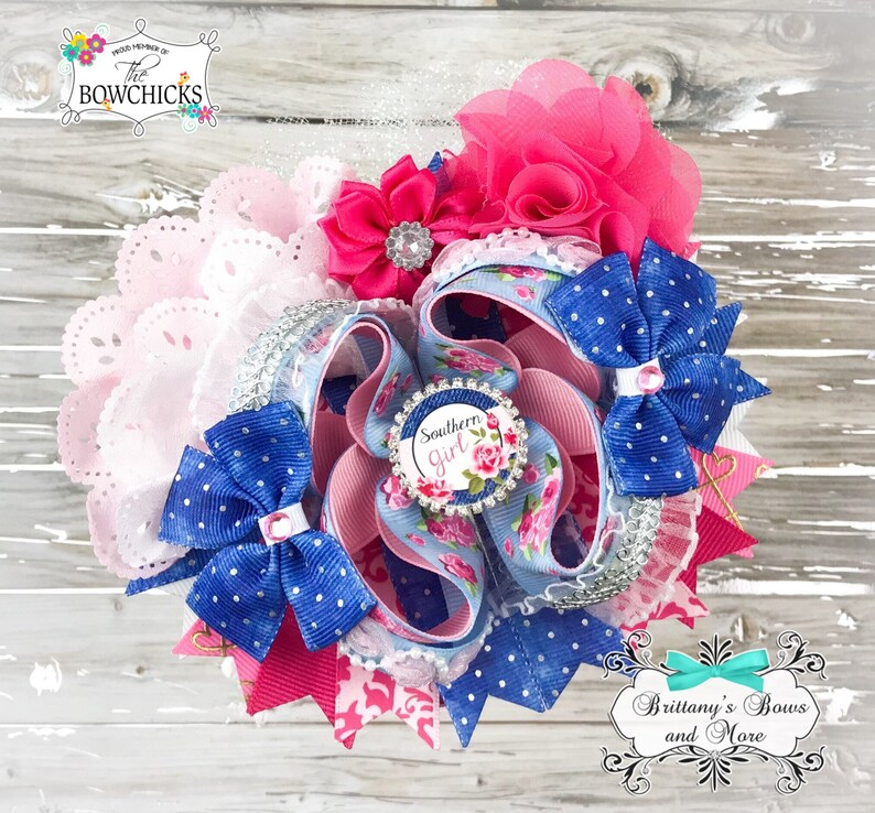 Southern Girl OTT Bow Over the Top Hairbow  Floral OTT image 0
